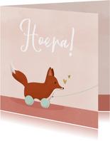 Lief felicitatiekaartje geboorte met vosje