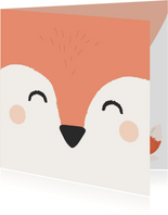Lief felicitatiekaartje met het gezicht van een vos