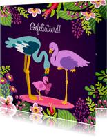 Lief felicitatiekaartje met papa, mama en baby flamingo