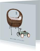 Lief felicitatiekaartje voor de geboorte een jongen met wieg