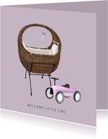 Lief felicitatiekaartje voor de geboorte een meisje met wieg