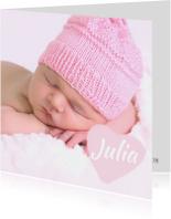 Lief foto geboortekaartje hart meisje