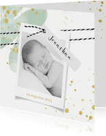 Lief geboortekaartje foto en label