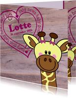 Lief geboortekaartje Giraffe MEISJE