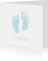 Lief geboortekaartje jongen met blauwe baby voetjes