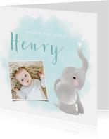 Lief geboortekaartje jongen met olifantje en waterverf