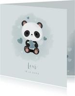 Lief geboortekaartje jongen met panda, hartjes en waterverf