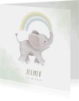 Lief geboortekaartje jongen olifant, regenboog en waterverf