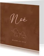Lief geboortekaartje meisje lijntekening olifantjes