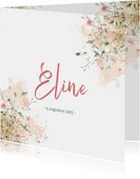Lief geboortekaartje meisje met fijne bloemetjes