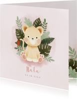 Lief geboortekaartje meisje met leeuw, plantjes en waterverf