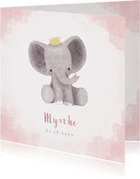 Lief geboortekaartje meisje met olifant en kroontje