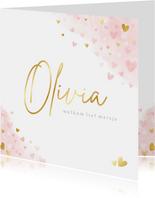 Lief geboortekaartje meisje met roze en gouden hartjes