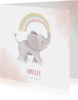 Lief geboortekaartje meisje olifant, regenboog en waterverf