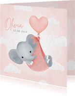 Lief geboortekaartje meisje olifantje in draagzak en ballon