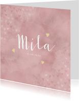 Lief geboortekaartje meisje roze waterverf en gouden hartjes