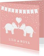 Lief geboortekaartje meisjes tweeling met 2 olifantjes
