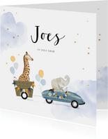 Lief geboortekaartje met babydieren in retro trapauto