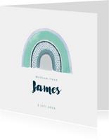 Lief geboortekaartje met blauwe waterverf regenboog