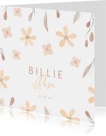 Lief geboortekaartje met bloemetjes en takjes
