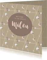 Lief geboortekaartje met bloesem patroon
