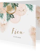 Lief geboortekaartje met botanisch tintje en ballonnen