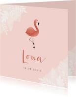 Lief geboortekaartje met flamingo, jungle en waterverf
