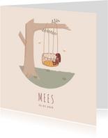 Lief geboortekaartje met illustratie van een boom en wiegje