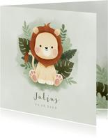 Lief geboortekaartje met leeuw, plantjes en waterverf
