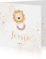 Lief geboortekaartje met leeuwtje bijtring