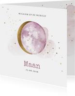 Lief geboortekaartje met lila watercolour en maan in goud