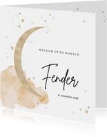 Lief geboortekaartje met maan en sterren in goudlook