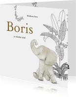 Lief geboortekaartje met olifant en jungle elementen