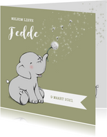 Geboortekaartjes - Lief geboortekaartje met olifantje en sterren jongen