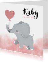 Lief geboortekaartje met olifantje en waterverf meisje