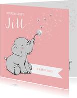 Lief geboortekaartje met olifantje en wensbloem meisje