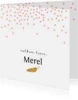 Lief geboortekaartje met roze confetti en gouden veertje