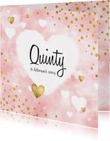 Lief geboortekaartje met roze waterverf, hartjes en stipjes