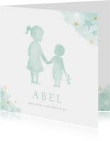 Lief geboortekaartje met silhouet van grote zus en broertje