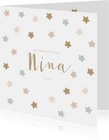 Lief geboortekaartje met sterren in zachte pasteltinten