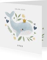 Lief geboortekaartje met walvis en hartjes voor jongen