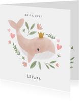 Lief geboortekaartje met walvisje, plantjes en hartjes