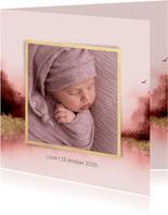 Lief geboortekaartje met waterverf en eigen foto