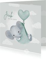 Lief geboortekaartje olifantje in draagzak, ballon & wolkjes