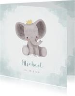Lief geboortekaartje olifantje met kroontje en waterverf