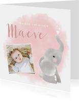 Lief geboortekaartje olifantje waterverf voor meisje