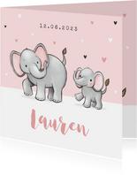 Lief geboortekaartje olifantjes meisje zusje hartjes roze