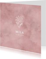 Lief geboortekaartje roze waterverf, bloemetjes en hartjes