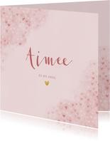 Lief geboortekaartje roze waterverf met hartjes