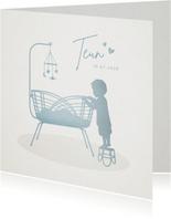 Lief geboortekaartje voor een jongen - grote broer bij wieg